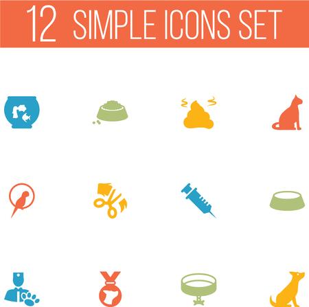 macaw: Set Of 12 Mammal Icons Set.Collection Of Neckband , Medallion, Scissor Elements. Illustration