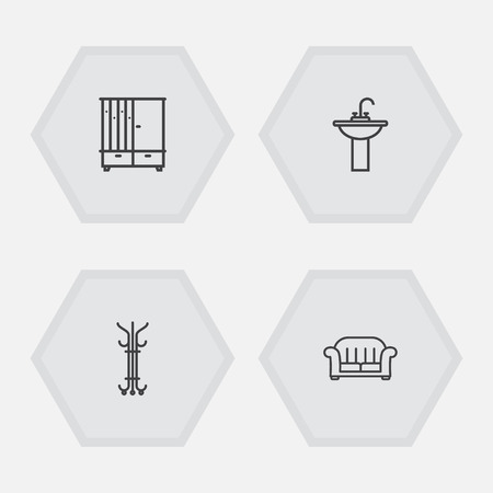 settee: Set Of 4 Decor Outline Icons Set.Collection Of Washbasin, Hall Tree, Armchair And Other Elements.