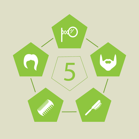 Set Of 5 Barber Icons Set.Collection Of Hipster, Comb, Looking-Glass And Other Elements. Illustration