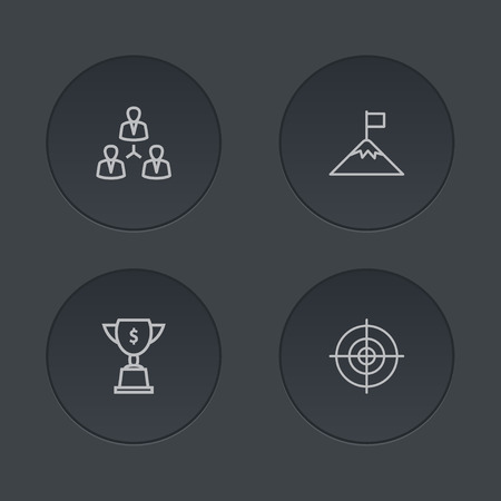 top gun: Set Of 4 Idea Outline Icons Set.Collection Of Target, Achievement, Teamwork And Other Elements.