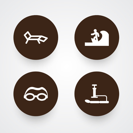 sports equipment: Set Of 4 Seaside Icons Set.Collection Of Lounge, Inflating, Surfing And Other Elements. Illustration