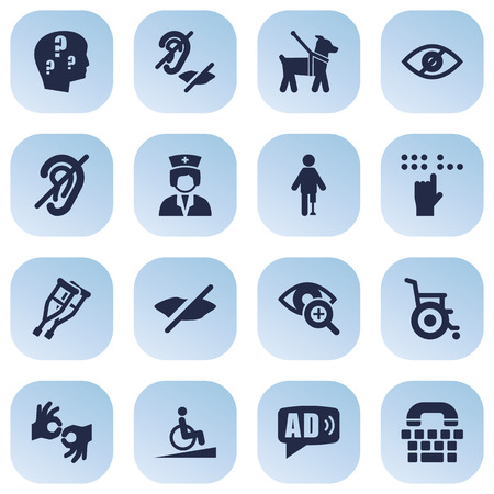 details: Set Of 16 Disabled Icons Set.Collection Of Braille, Tty, Artificial Limb And Other Elements. Illustration