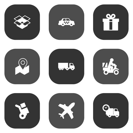 spot: Set Of 9 Shipping Icons Set.Collection Of Truck, Parcel, Shipping And Other Elements.