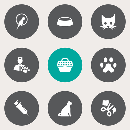 grille: Set Of 9 Pets Icons Set.Collection Of Scissor, Cat, Veterinarian And Other Elements.