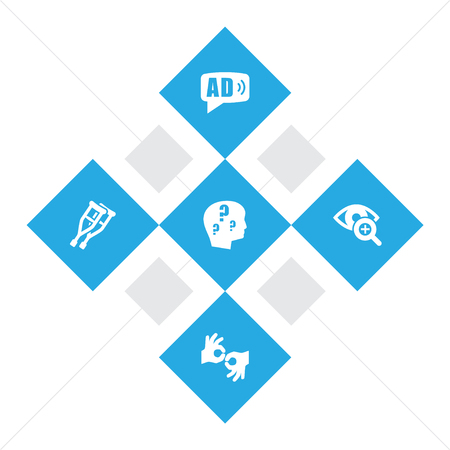 details: Set Of 5 Disabled Icons Set.Collection Of Stand, Brain With Question, Gesture Elements.
