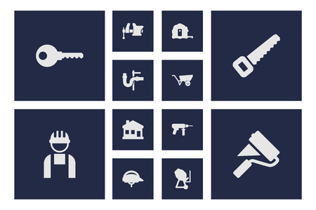 Set Of 12 Architecture Icons Set.Collection Of Clamp, Pushcart, Electric Screwdriver And Other Elements.