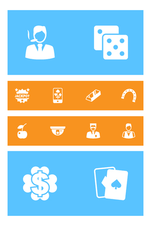 prestige: Set Of 12 Casino Icons Set.Collection Of Online Casino, Bodyguard, Playing Cards And Other Elements. Illustration