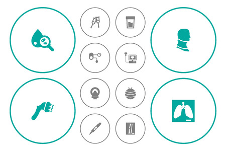 Set Of 12 Medicine Icons Set.Collection Of Broken Neck, Machine, Sonogram And Other Elements.