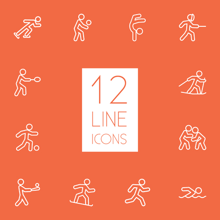 sports equipment: Set Of 12 Sport Outline Icons Set.Collection Of Ski Running, Batting, Gymnastic And Other Elements.