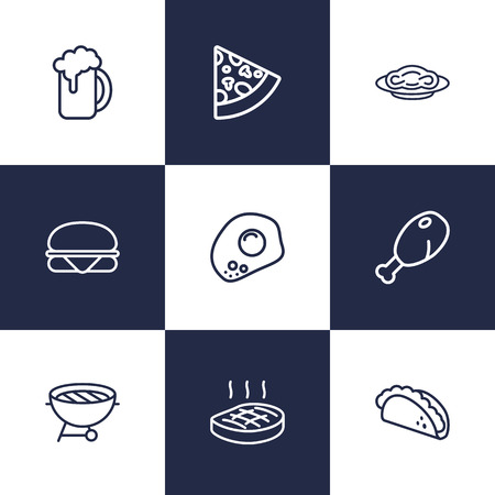 Set Of 9 Dish Outline Icons Set.