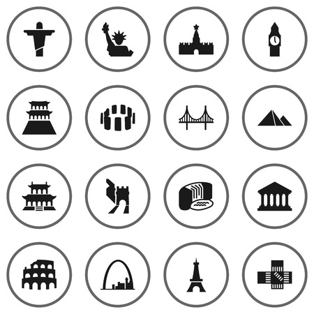 Set Of 16 Monument Icons Set.