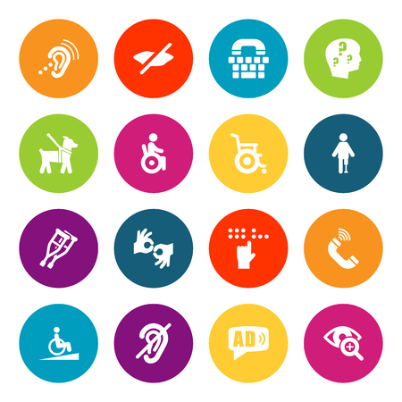 Set of 16 accessibility icons set.