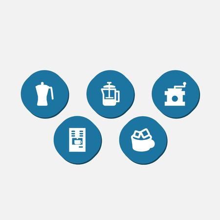 Set of 5 beverage icons set.