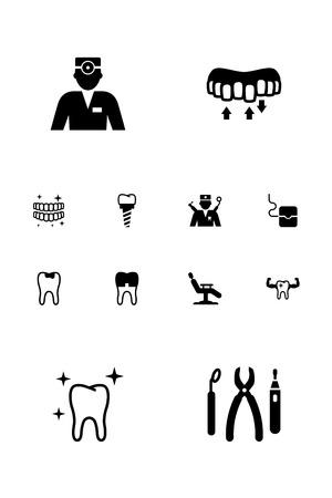 Satz von 12 Zahnarztikonen. Standard-Bild - 85979100