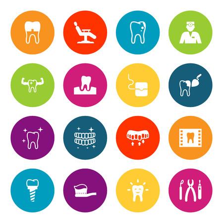 Set Of 16 Dental Icons Set.