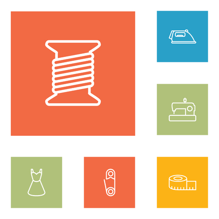 sewing machines: Set Of 6 Stitch Outline Icons Set. Illustration