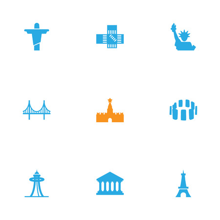 Set Of 9 Famous Icons Set.Collection Of Academy, Seattle, Bridge And Other Elements.