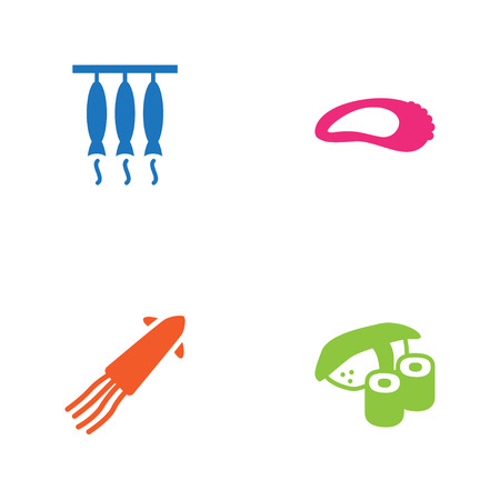 Set Of 4 Sea Icons Set.Collection Of Japanese Roll, Clam, Smoked And Other Elements. Illustration