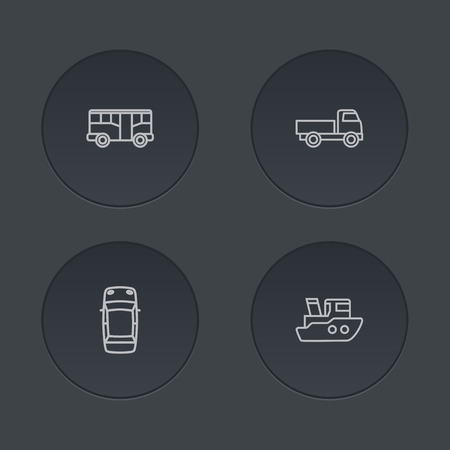 camion: Set of 4 transport outline icons set.