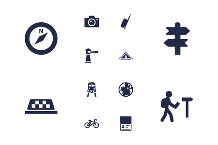 zoom earth: Travel icons set.