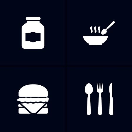 Kitchen icons set. Collection of jar, broth, silverware and other elements.