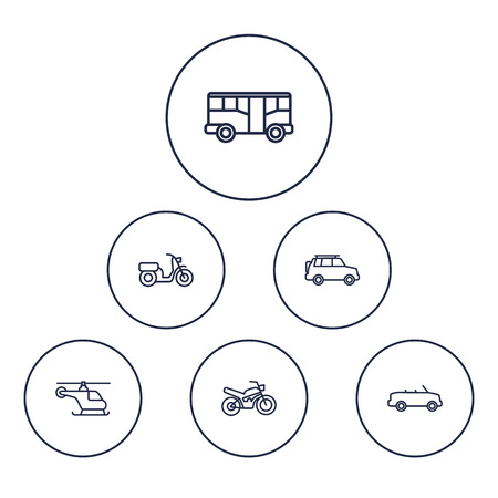 Shipping outline icons set. Collection of cabriolet, helicopter, SUV and other elements.