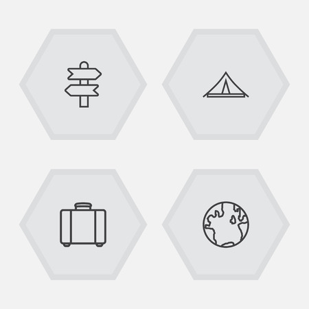 Journey outline icons set. Collection of globe, awning, suitcase and other elements. Stock Vector - 86055896