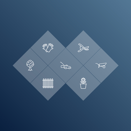 Horticulture outline icons set. Collection of grass-cutter, palisade, barrow and other elements.