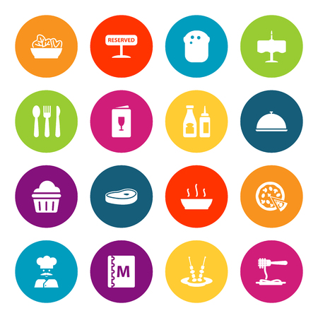 Restaurant icons set. Collection of catsup, registered, meat and other elements.