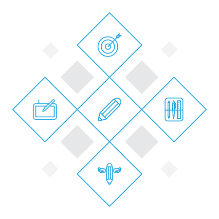 Constructive outline icons set. Collection of target, pencil, drawing tools and other elements.