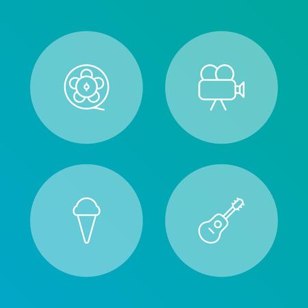 Entertainment overzicht pictogrammen instellen. Verzameling van filmcam, ijs, filmrol en andere elementen. Stock Illustratie