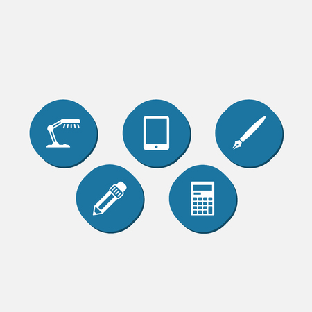 phone: Work icons set. Collection of graphite, pen, reading lamp and other elements.