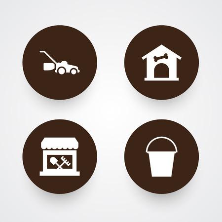 ファームのアイコンが設定。犬小屋、店、バケツおよび他の要素のコレクション。