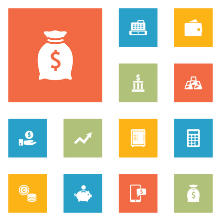 Budget icons set. Collection of grown, online banking, cashbox and other elements.