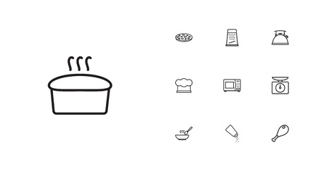 Culinary outline icons set. Collection of kettle, pizza, scales and other elements.