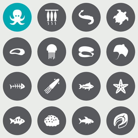 Seafood icons set. Collection of beefsteak, sea star, shell and other elements.