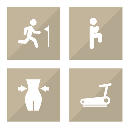 Set Of 4 Fitness Icons Set.Collection Of Treadmill, Squat, Slimming And Other Elements. Illustration