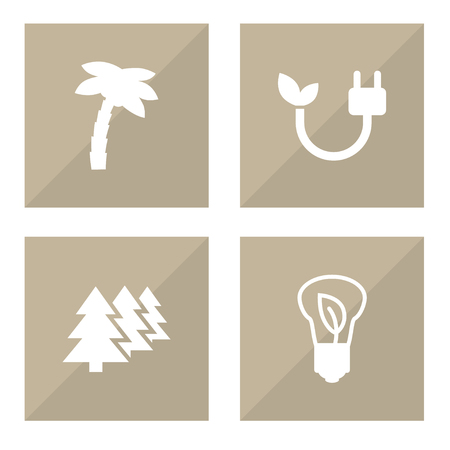 Set Of 4 Bio Icons Set.Collection Of Energy, Tree, Reforestation And Other Elements. Illusztráció
