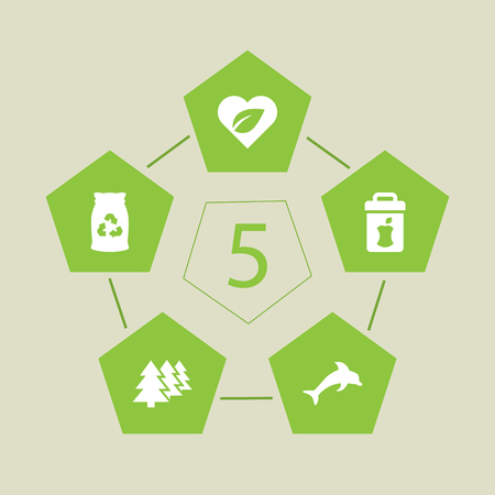 Set Of 5 Ecology Icons Set.Collection Of Food, Garbage Bag, Leaves And Other Elements.