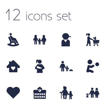 Set Of 12 Family Icons Set.Collection Of Father With Son, Supermarket, Grandson Elements.