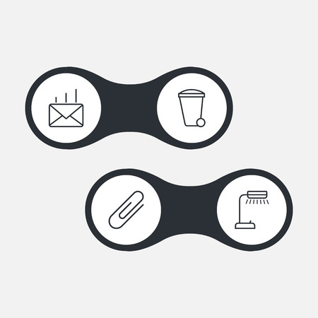 modern office: Set Of 4 Work Outline Icons Set.Collection Of Post, Fastener Paper, Recycle Bin And Other Elements. Illustration