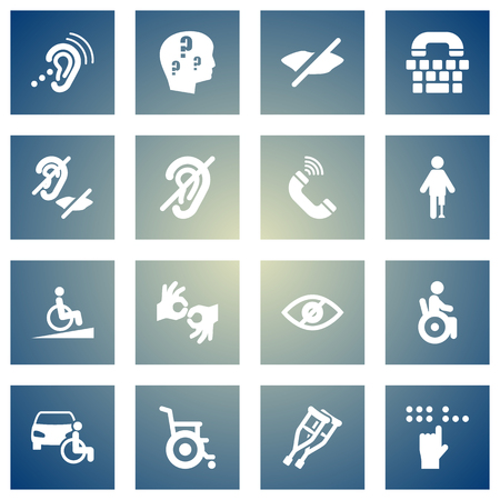 Set Of 16 Disabled Icons Set.Collection Of Stand, Listening Device, Disabled Vehicle Elements. Illustration