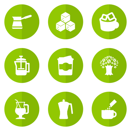 Set Of 9 Drink Icons Set.Collection Of Sweetener, French Press, Ibrik And Other Elements.