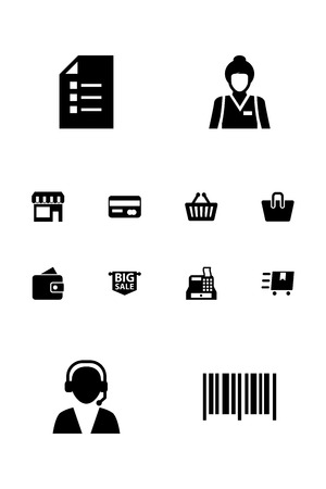 mujer en el supermercado: Collection Of Till, Cargo, Seller And Other Elements.  Set Of 12 Shopping Icons Set.