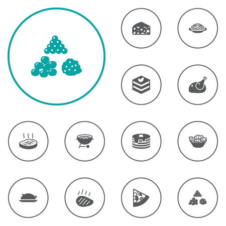 heap: Collection Of Beefsteak, Pork, Fish Egg And Other Elements.  Set Of 12 Eat Icons Set.