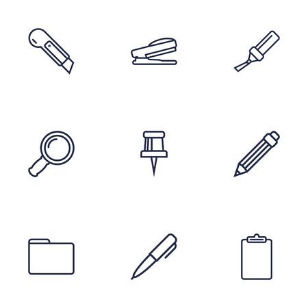 Collection Of Drawing, Clipboard, Pushpin And Other Elements.  Set Of 9 Stationery Outline Icons Set.