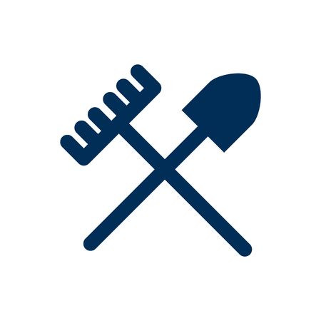 Vector Rake Element In Trendy Style.  Isolated Shovel Icon Symbol On Clean Background.