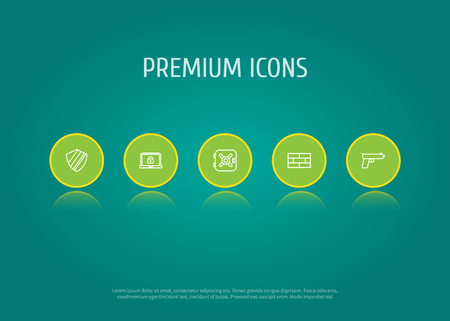 Collection Of Safe, Protection, Weapon And Other Elements.  Set Of 5 Safety Outline Icons Set.