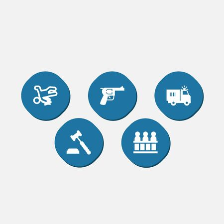 victim war: Collection Of Truck, Jury, Victim And Other Elements.  Set Of 5 Criminal Icons Set.