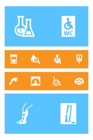 pharmacy symbol: Collection Of Handicapped, Splint, Diabet Elements.  Set Of 12 Medicine Icons Set.
